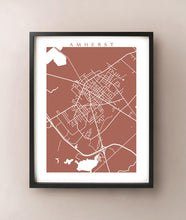 Load image into Gallery viewer, Framed map of Amherst, Nova Scotia by CartoCreative
