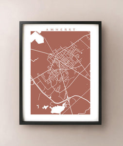 Framed map of Amherst, Nova Scotia by CartoCreative