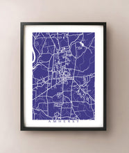 Load image into Gallery viewer, Framed map of Amherst, Massachusetts by CartoCreative