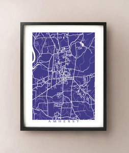 Framed map of Amherst, Massachusetts by CartoCreative