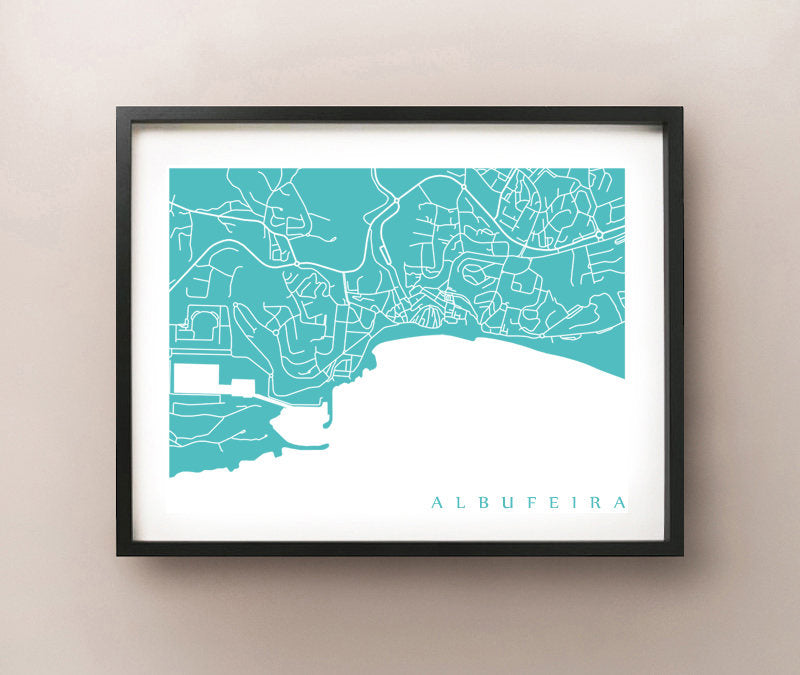 Framed map of Albufeira, Portugal by CartoCreative