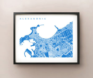 Framed map of Alexandria, Egypt by CartoCreative