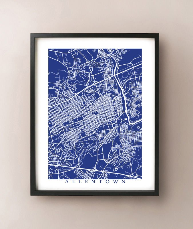 Framed map of Allentown, Pennsylvania by CartoCreative