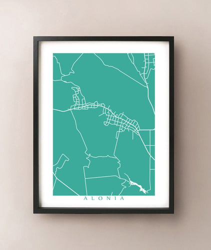 Framed map of Alonia, Greece by CartoCreative