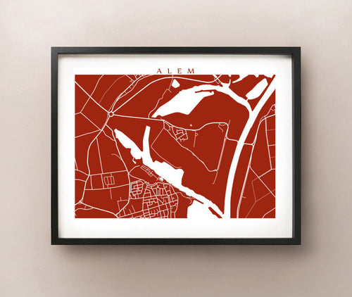 Framed map of Alem, Netherlands by CartoCreative