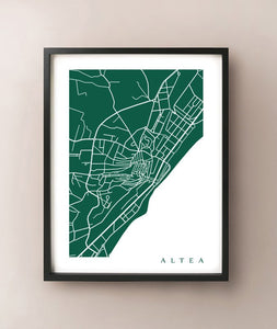 Framed map of Altea, Spain by CartoCreative