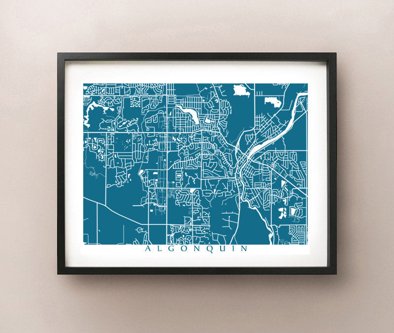 Framed map of Algonquin, Illinois by CartoCreative