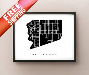 Framed map of Alderwood, Etobicoke by CartoCreative