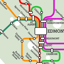 Load image into Gallery viewer, Detail from fictional metro map of Alberta by CartoCreative