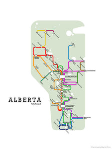 Fictional metro map of Alberta by CartoCreative