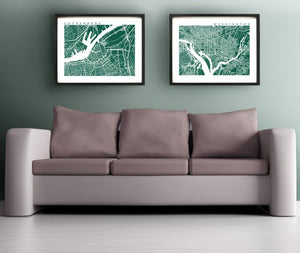Two prints above a couch
