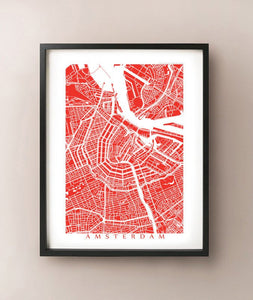 Framed map of Amsterdam, Netherlands by CartoCreative