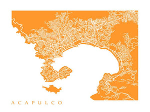 Map of Acapulco, Mexico.