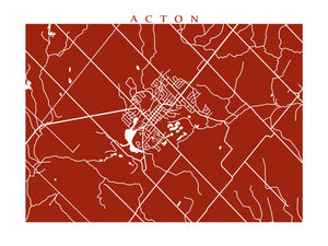 Map of Acton, Ontario.
