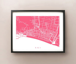 Aki, Japan framed map