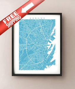 Framed image of Aarhus, Denmark map in the colour Caicos Caribbean.