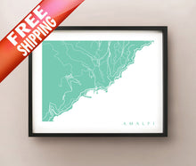 Load image into Gallery viewer, Framed map of Amalfi, Italy by CartoCreative