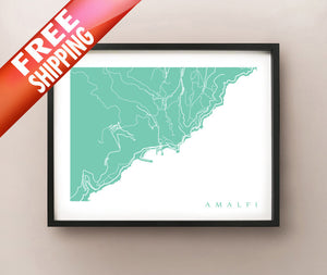 Framed map of Amalfi, Italy by CartoCreative