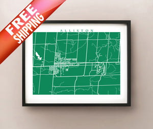 Framed map of Alliston, Ontario by CartoCreative