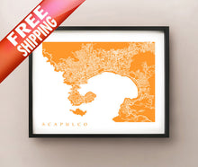 Load image into Gallery viewer, Framed map of Acapulco, Mexico.
