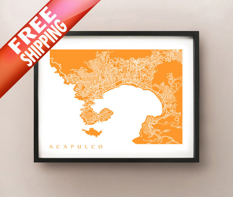 Framed map of Acapulco, Mexico.