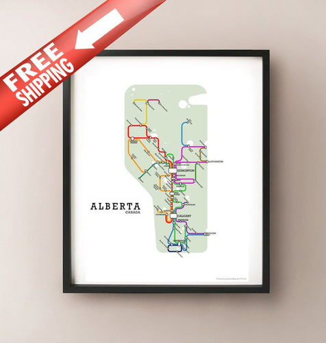 Framed fictional metro map of Alberta by CartoCreative