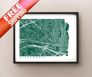 Framed map of Alexandria, Virginia by CartoCreative