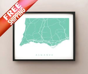 Framed map of Algarve, Portugal by CartoCreative
