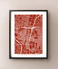 Load image into Gallery viewer, Framed map of Albuquerque, New Mexico by CartoCreative