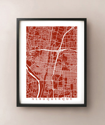 Framed map of Albuquerque, New Mexico by CartoCreative