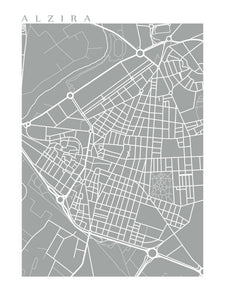 Map of Alzira, Spain by CartoCreative