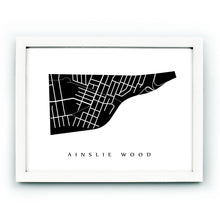 Load image into Gallery viewer, Framed neighbourhood map of Ainslie Wood, Hamilton, Ontario.