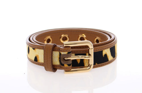 Yellow Leopard Leather Logo Belt
