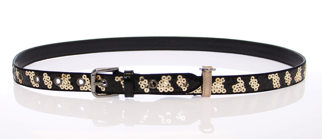Load image into Gallery viewer, Black Silk Sequined Logo Belt