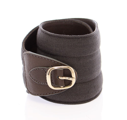Brown Leather Linnen Logo Belt