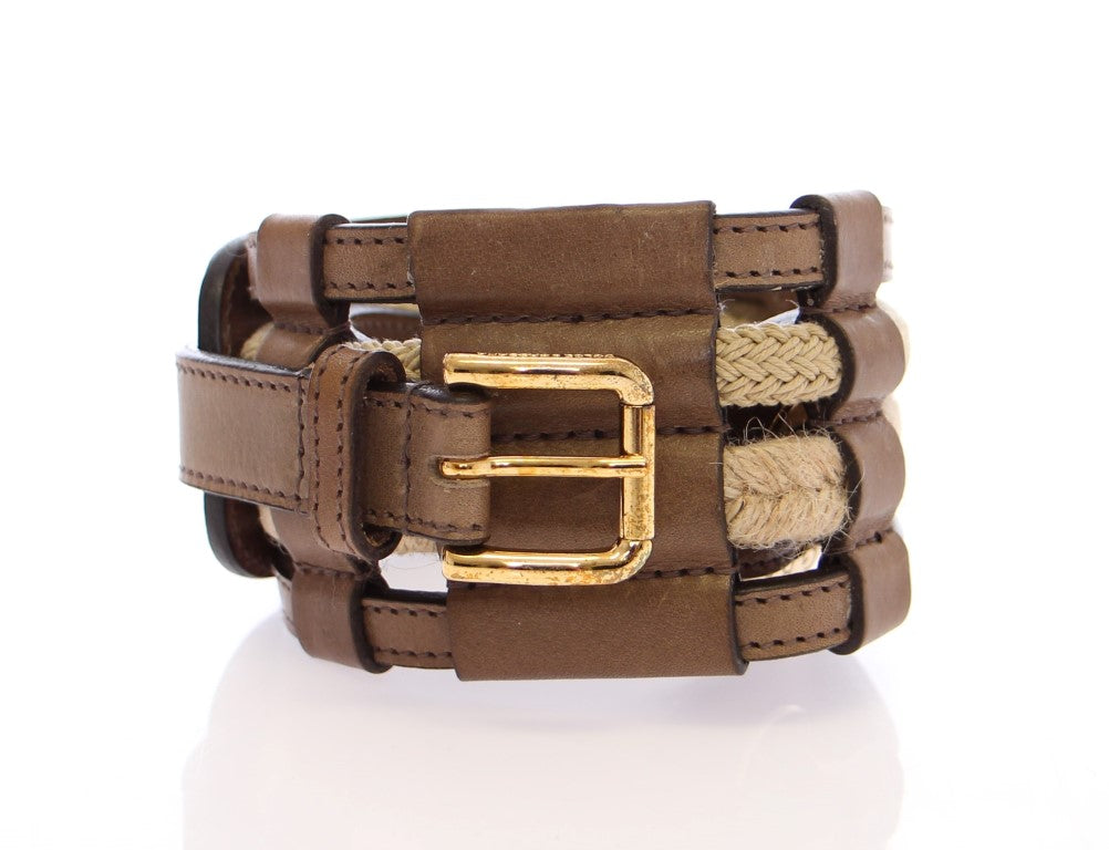 Load image into Gallery viewer, Brown Leather Logo Waist Belt
