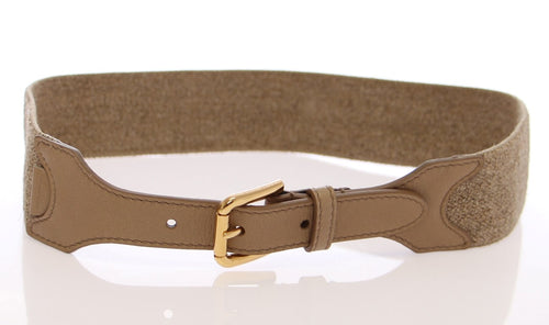 Beige Cotton Linen Logo Belt
