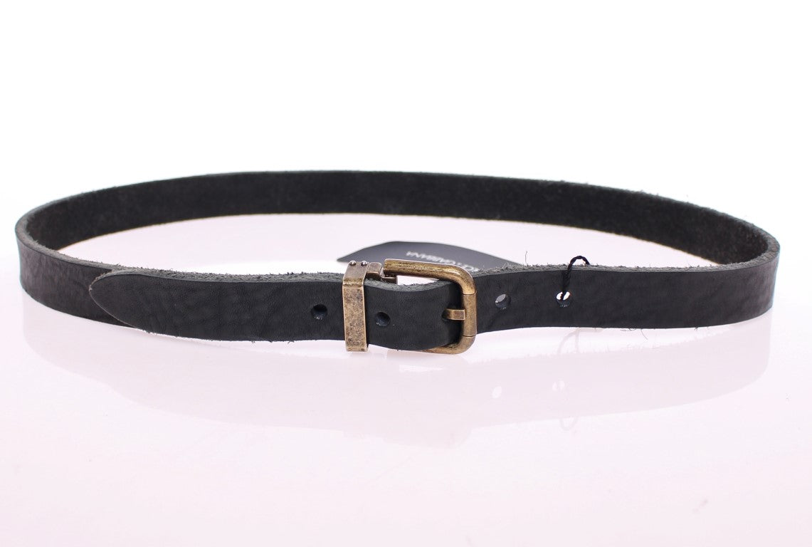 Load image into Gallery viewer, Black Leather Logo Belt