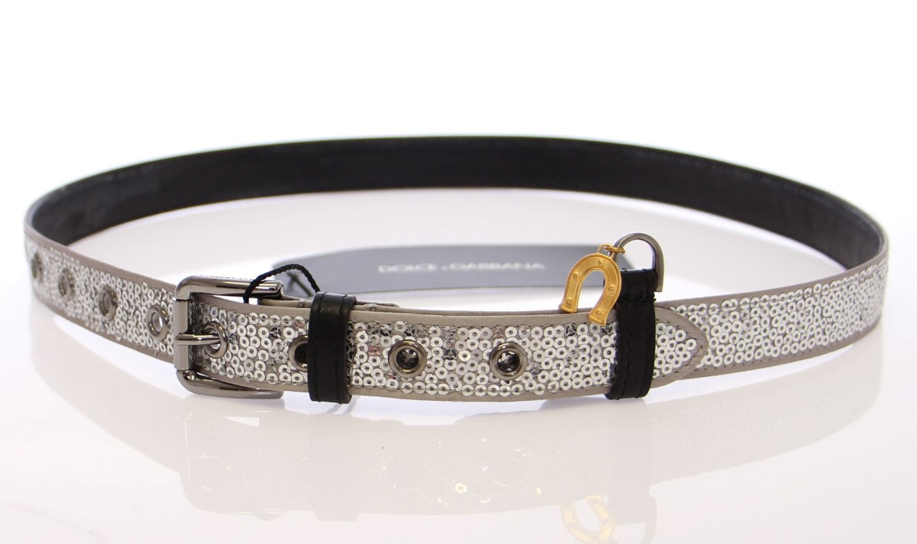 Load image into Gallery viewer, Silver Silk Sequined Silver Logo Belt