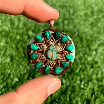 Pinecone Mini | Sterling Opal/Malachite/22k Gold Mandala (UV) - Tame Mane
