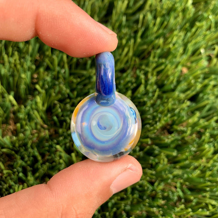 Coral Reef Twist Cane Implosion Glass Pendant - Tame Mane