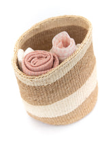 Load image into Gallery viewer, Sisal Basket - White Stripe