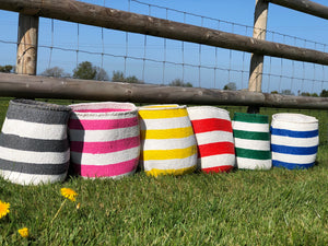 Sisal and Recycled Plastic Bucket Basket - Striped