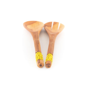 Olive Wood and Maasai Bead Salad Servers - Yellow