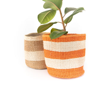 Sisal Basket - Orange Stripe