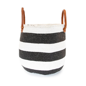 Sisal and Recycled Plastic Basket - Striped (Large)
