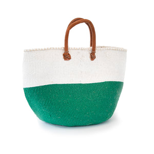 Sisal and Recycled Plastic Basket - Block Stripe (Large)