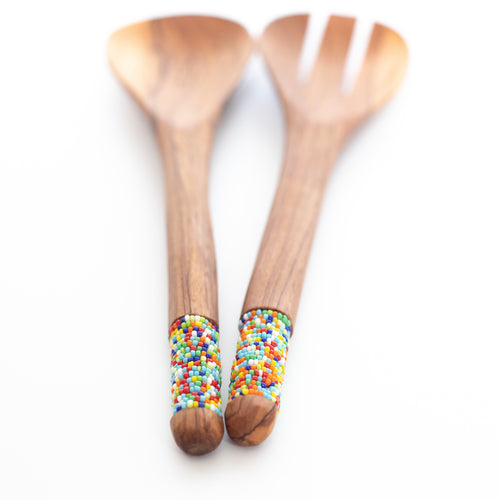 Olive Wood and Maasai Bead Salad Servers - Multicolour