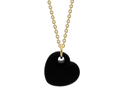 18k Gold Plated Black Enamel Puffy Heart Necklace, 15 Inches