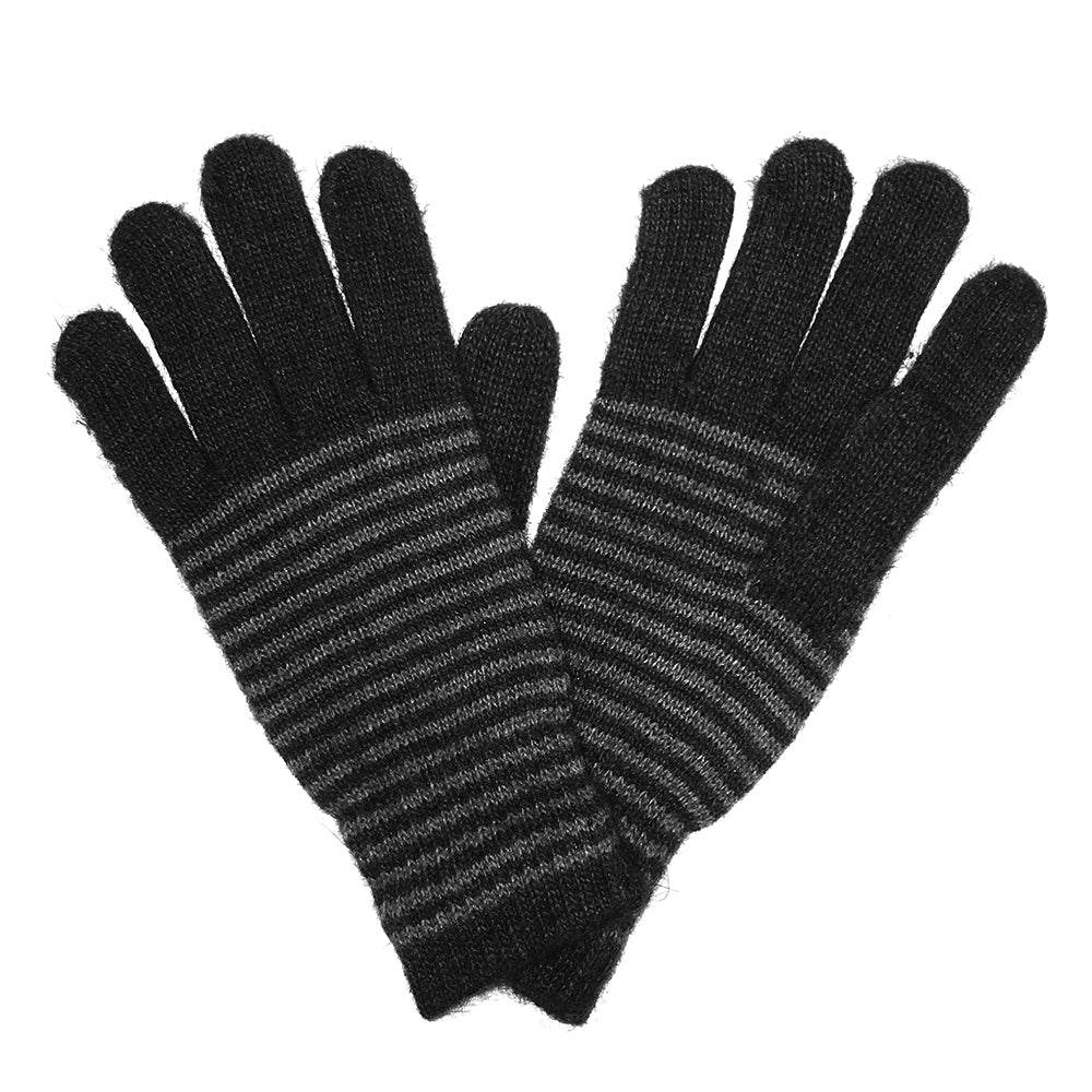 Unisex Striped Gloves Angora and Wool Blend